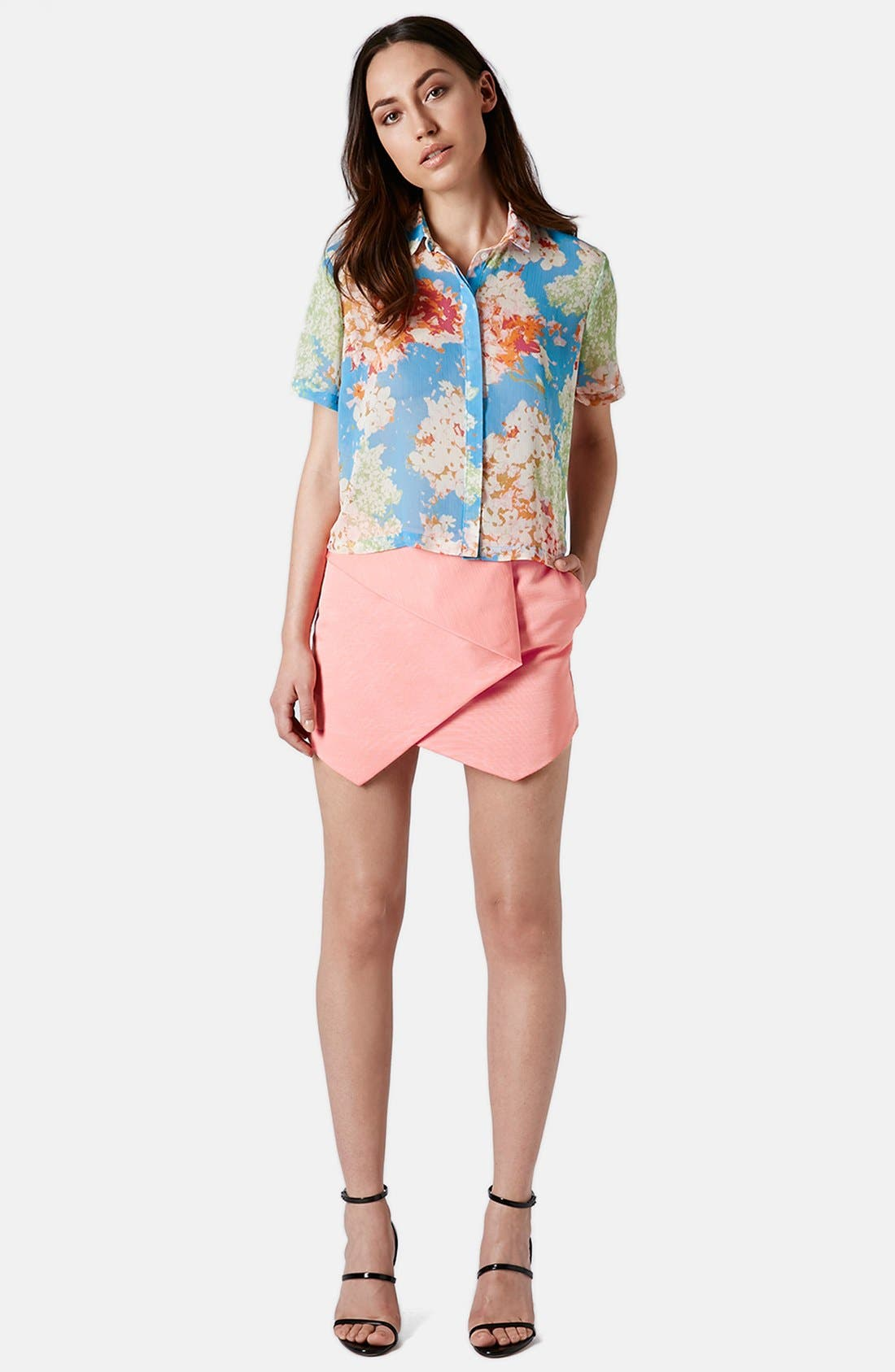 Alternate Image 4  - Topshop 'Zoe' Floral Print Short Sleeve Blouse