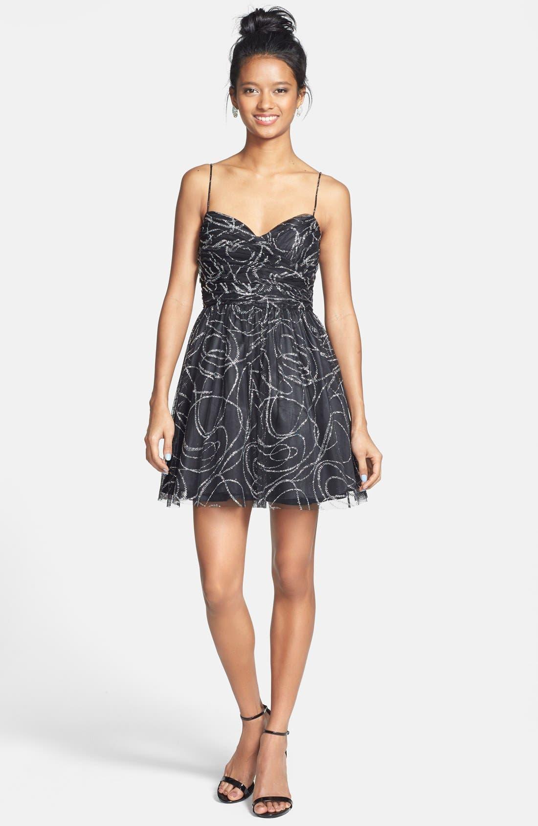 Alternate Image 3  - Hailey Logan Glitter Tulle Fit & Flare Dress (Juniors)