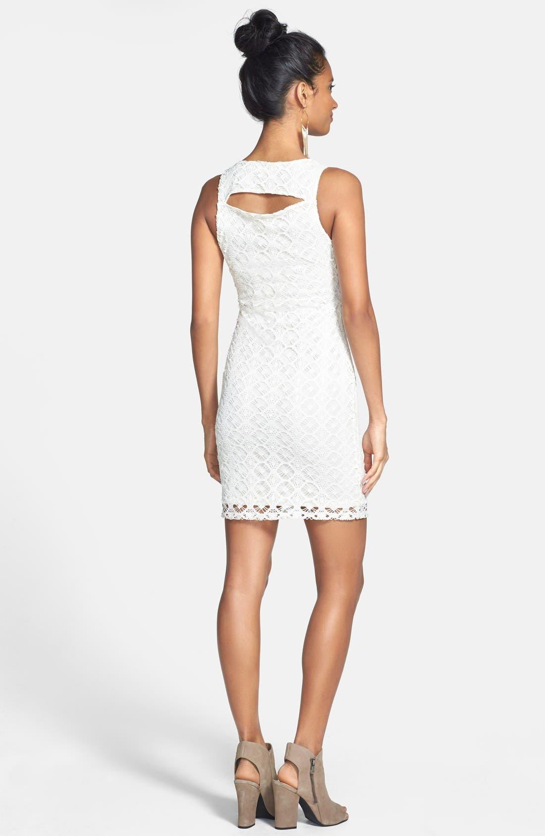 Alternate Image 2  - Painted Threads Back Cutout Crochet Body-Con Dress (Juniors)