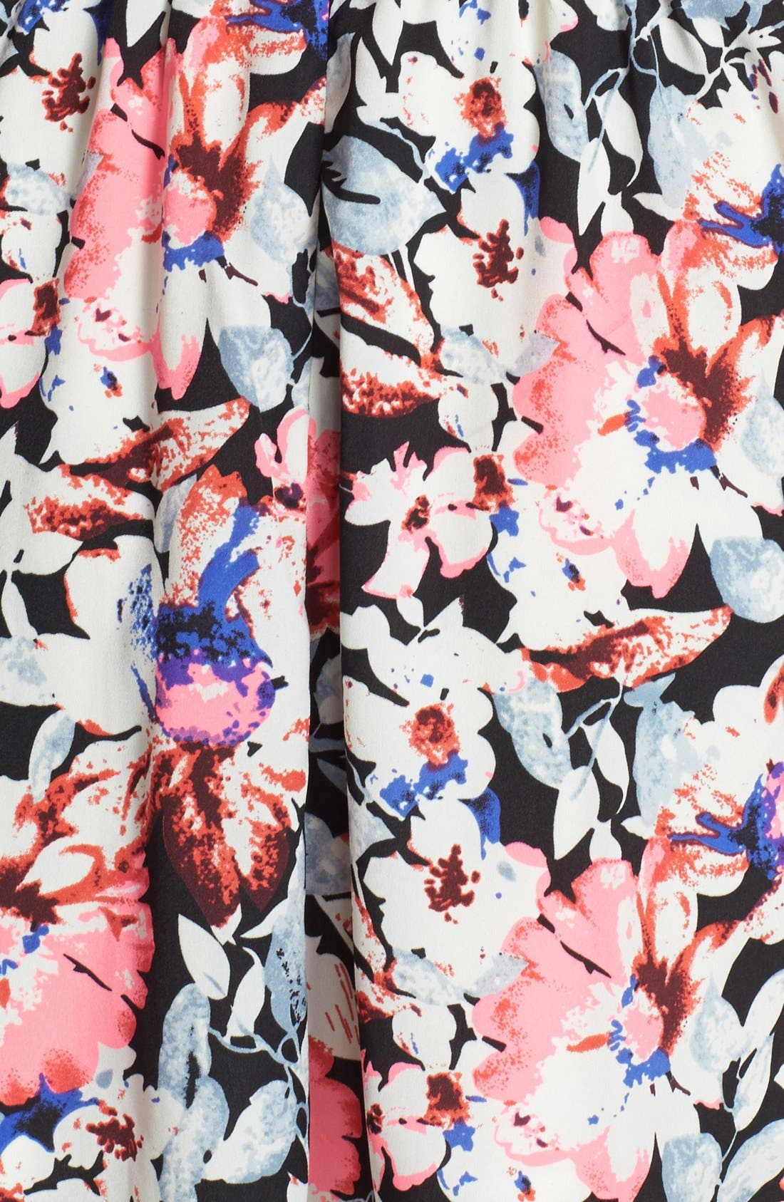 Alternate Image 3  - En Crème Neon Trim Floral Print Skater Dress (Juniors)