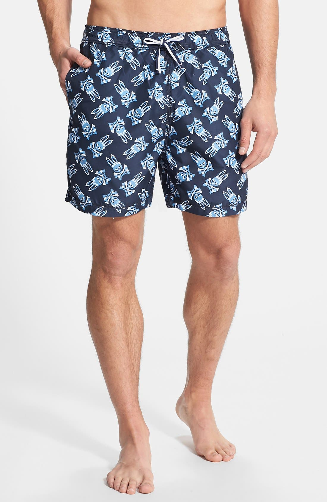 Main Image - Psycho Bunny Shadow Print Swim Trunks