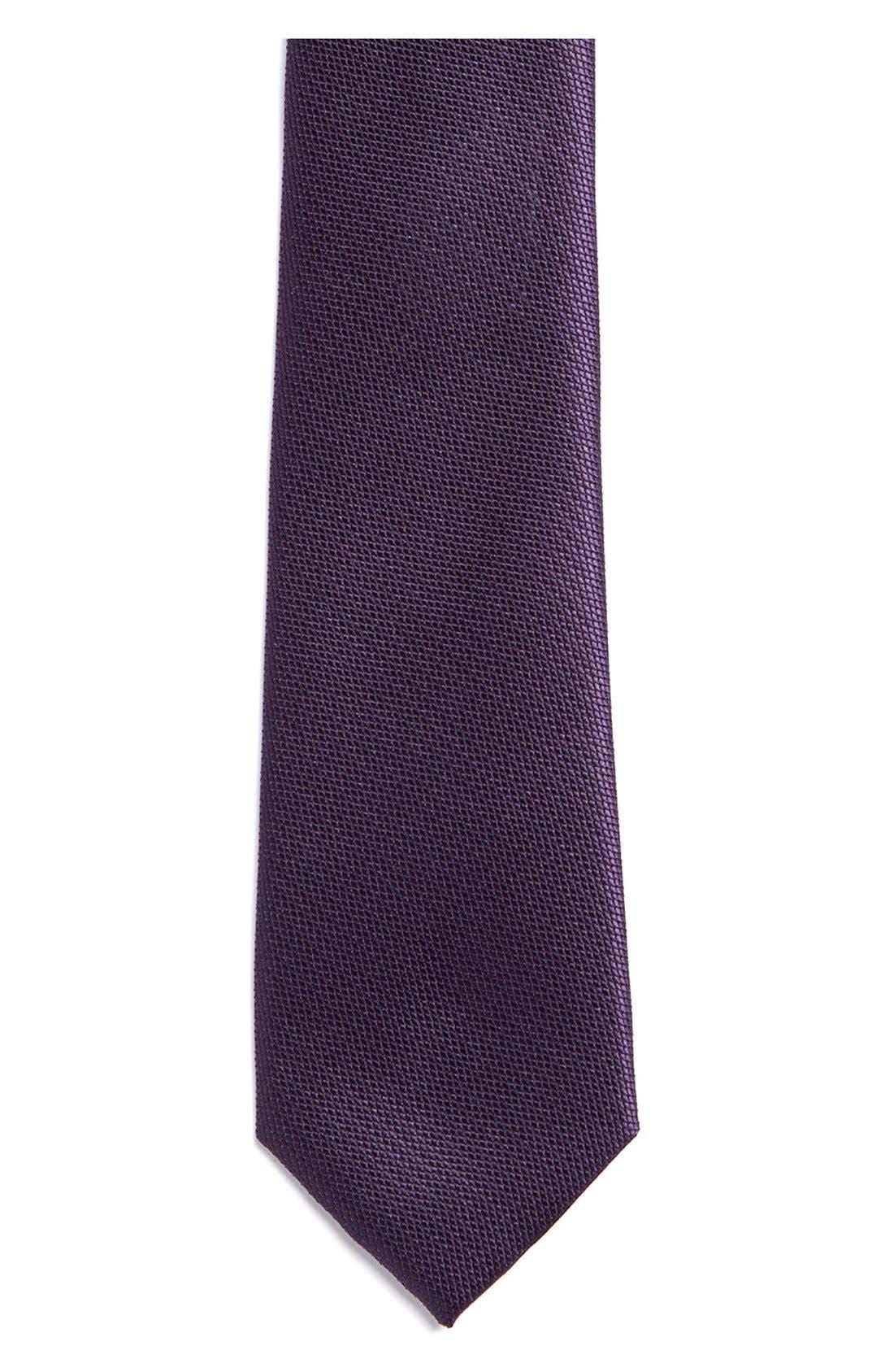 Alternate Image 2  - Topman Slim Burgundy Tie