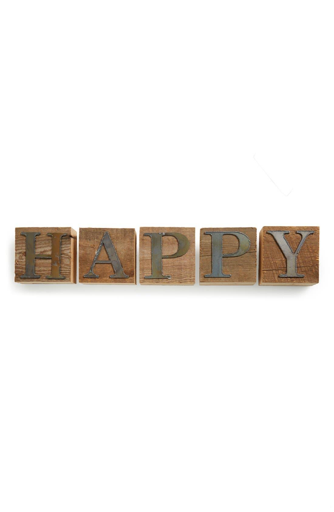 Main Image - Second Nature by Hand 'Happy' Repurposed Wood Block Art