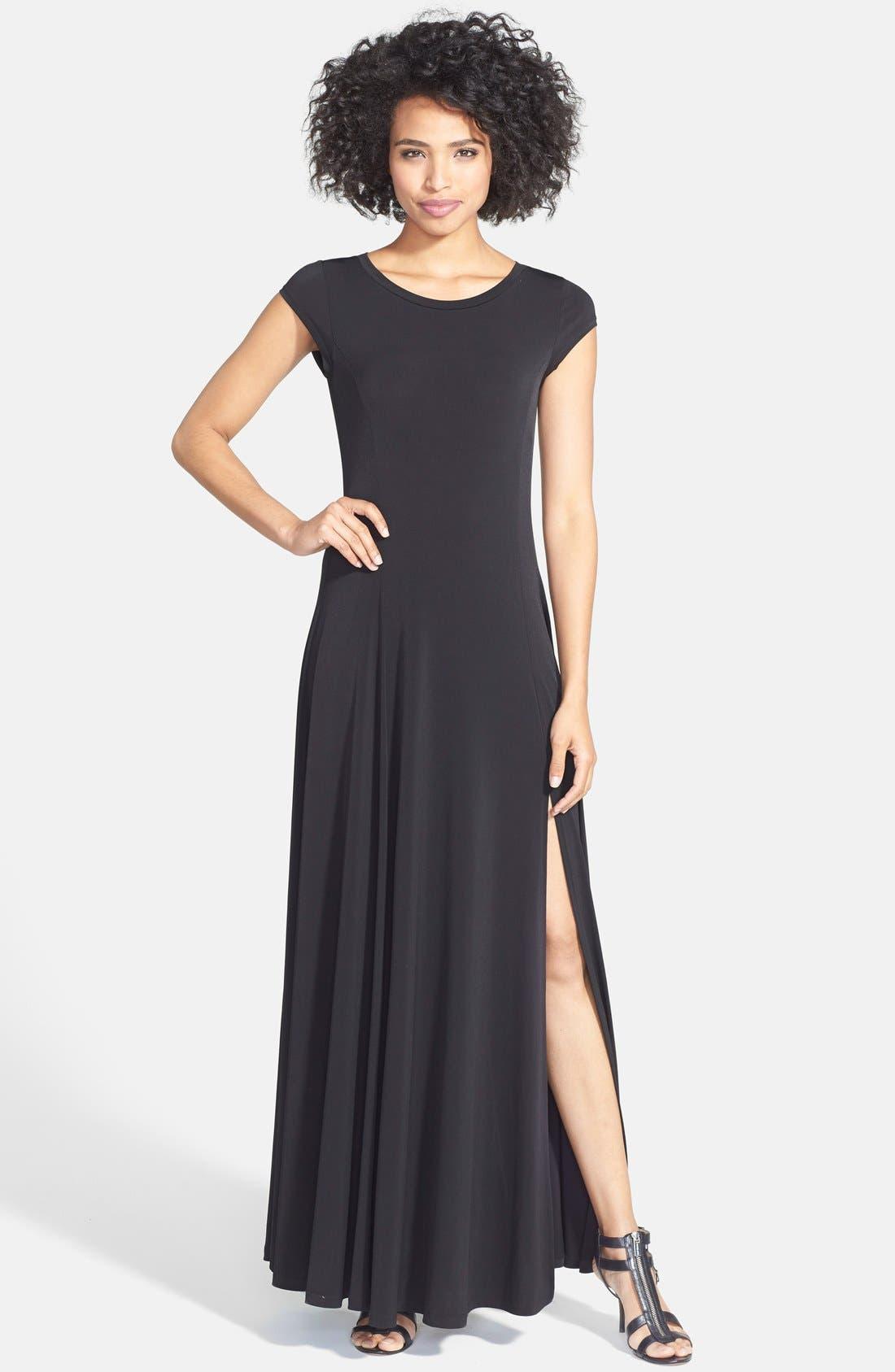 Alternate Image 1 Selected - MICHAEL Michael Kors Cap Sleeve Stretch Jersey Maxi Dress