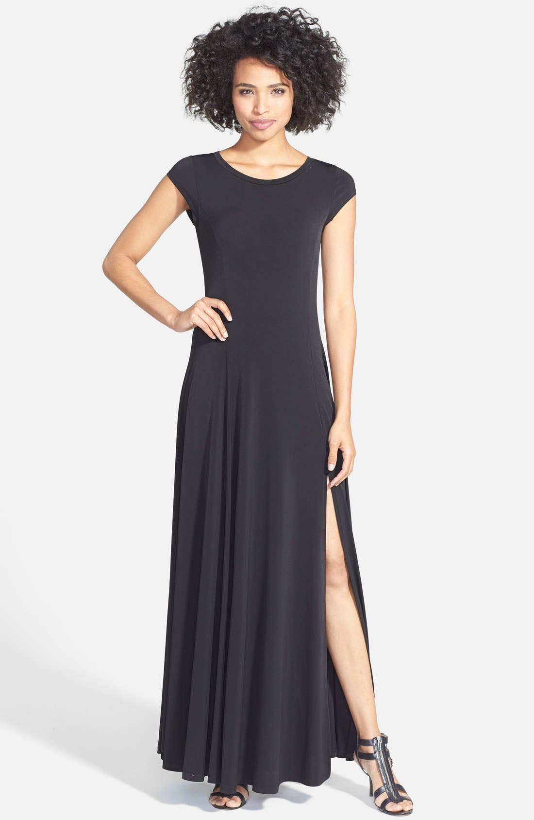 Main Image - MICHAEL Michael Kors Cap Sleeve Stretch Jersey Maxi Dress