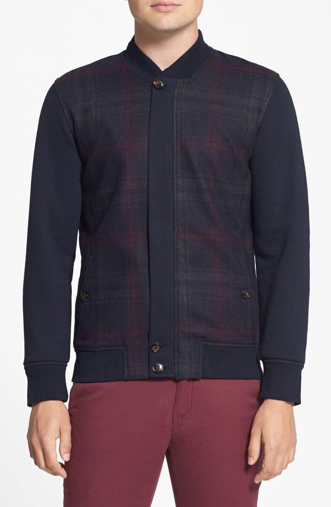 Main Image - Ted Baker London 'Azbak' Modern Fit Plaid Full Zip Bomber Jacket