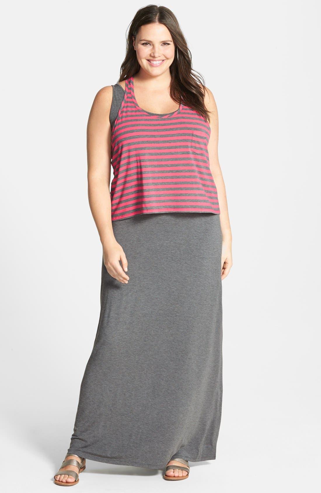 Main Image - Halogen® Layered Stretch Knit Maxi Dress (Plus Size)