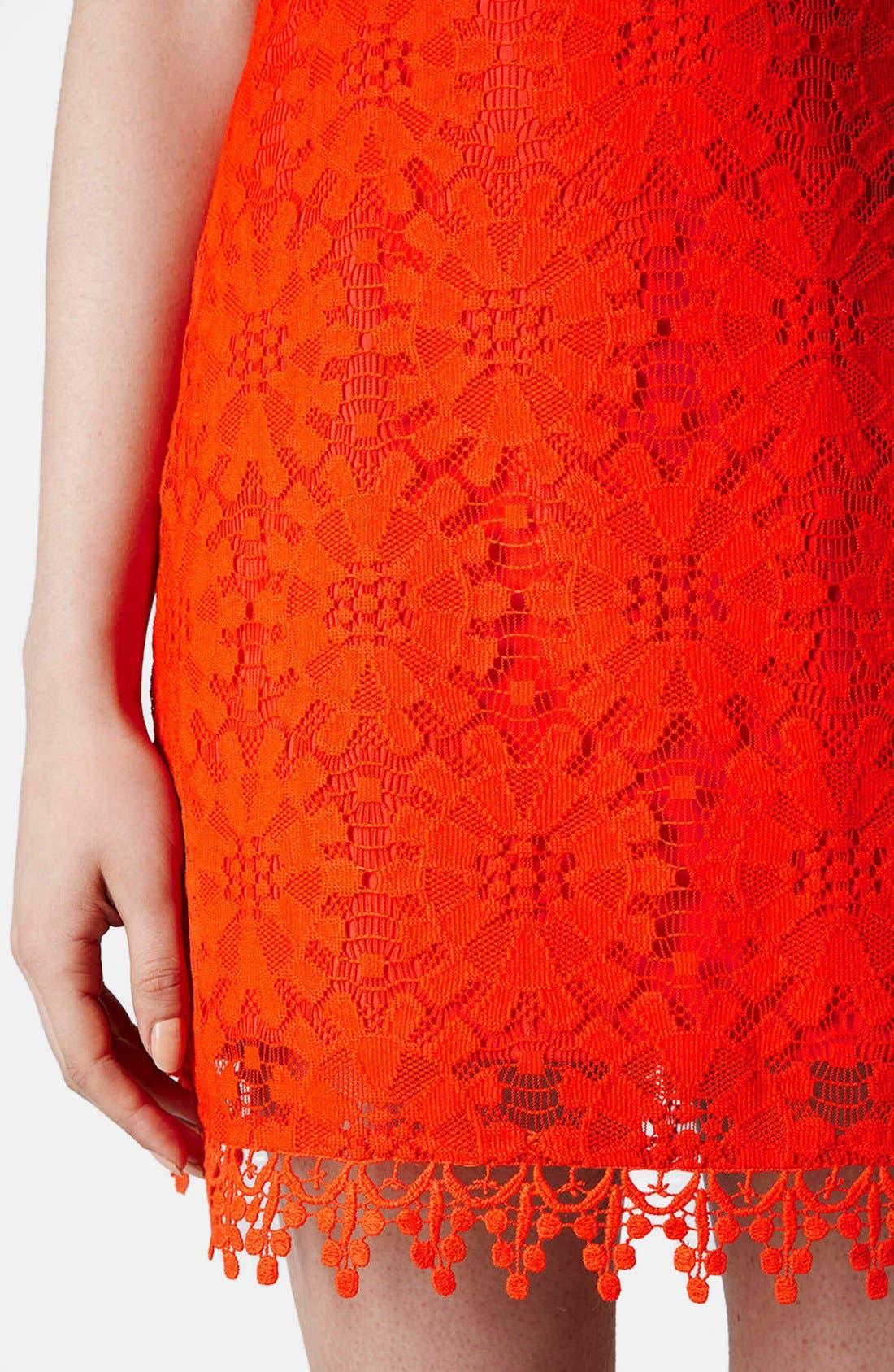 Alternate Image 4  - Topshop Wheel Lace Strapless Dress