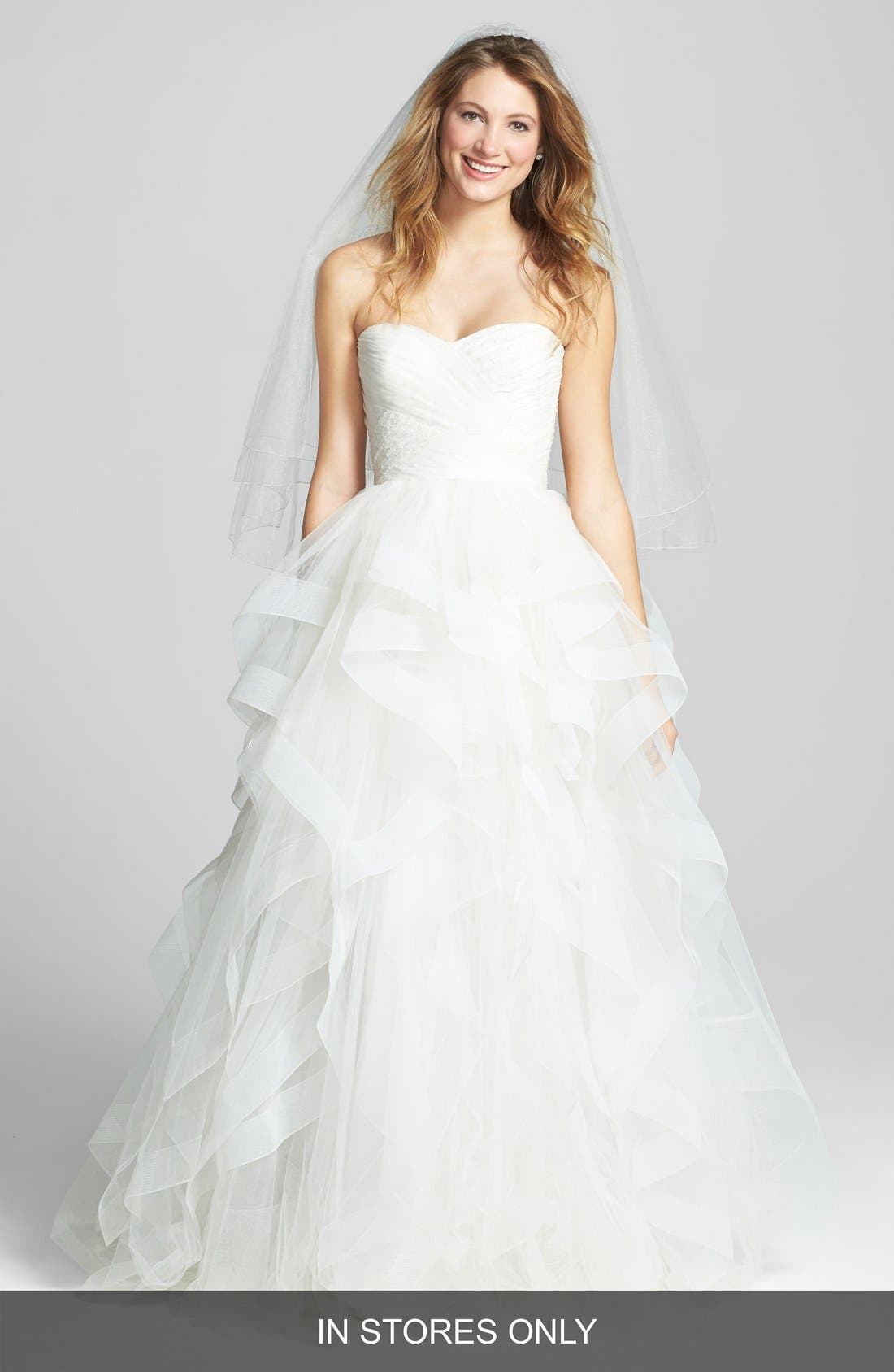 Alternate Image 1 Selected - Reem Acra 'Eliza' Lace Detail Ruffled Tulle Wedding Dress (In Stores Only)