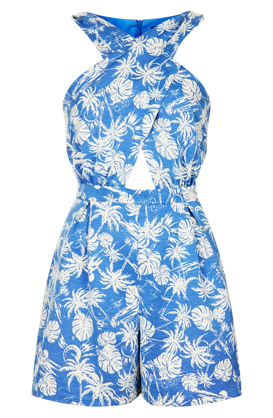 Alternate Image 3  - Topshop Palm Print Cross Front Romper