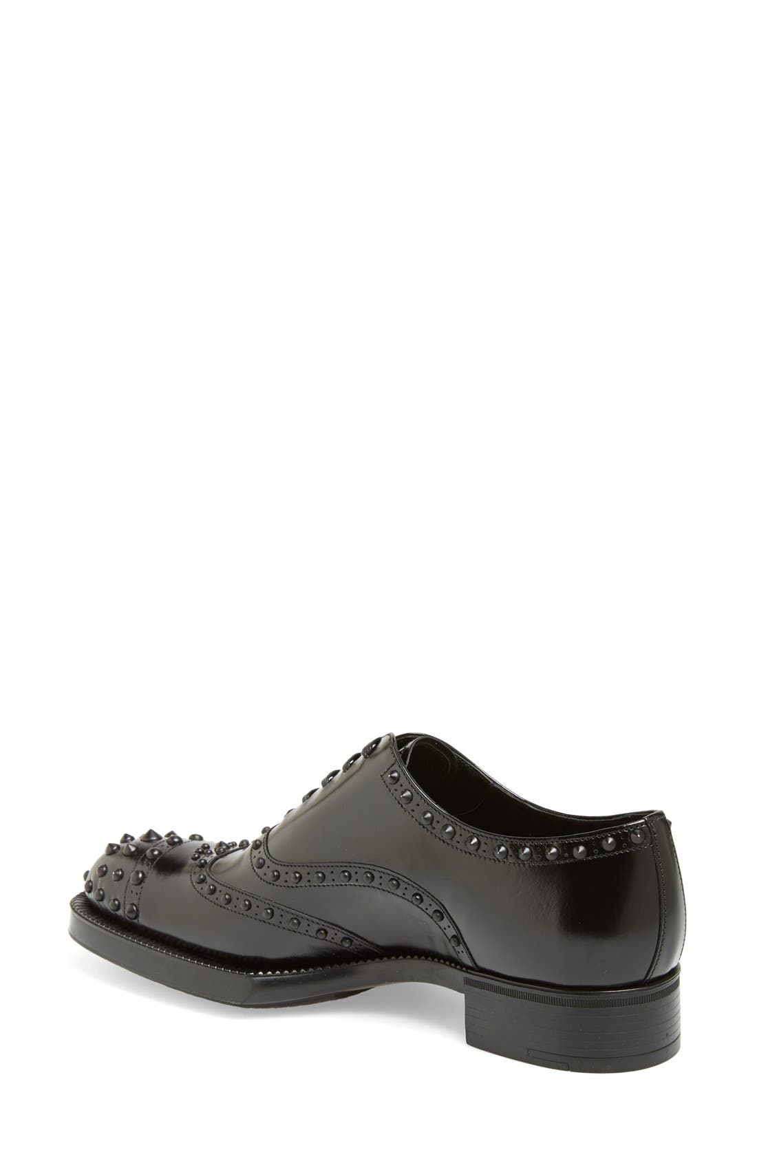 Alternate Image 2  - Prada Studded Wingtip Oxford (Women)
