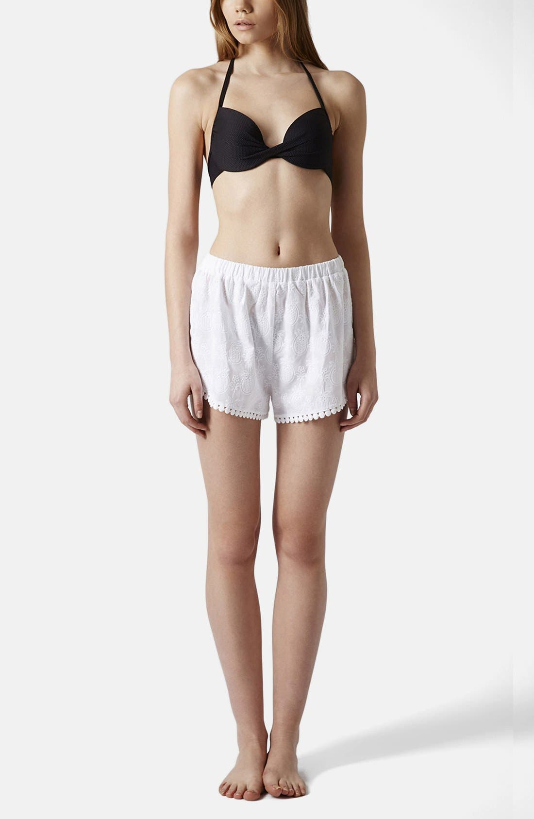 Alternate Image 5  - Topshop Pineapple Embroidered Cotton Shorts