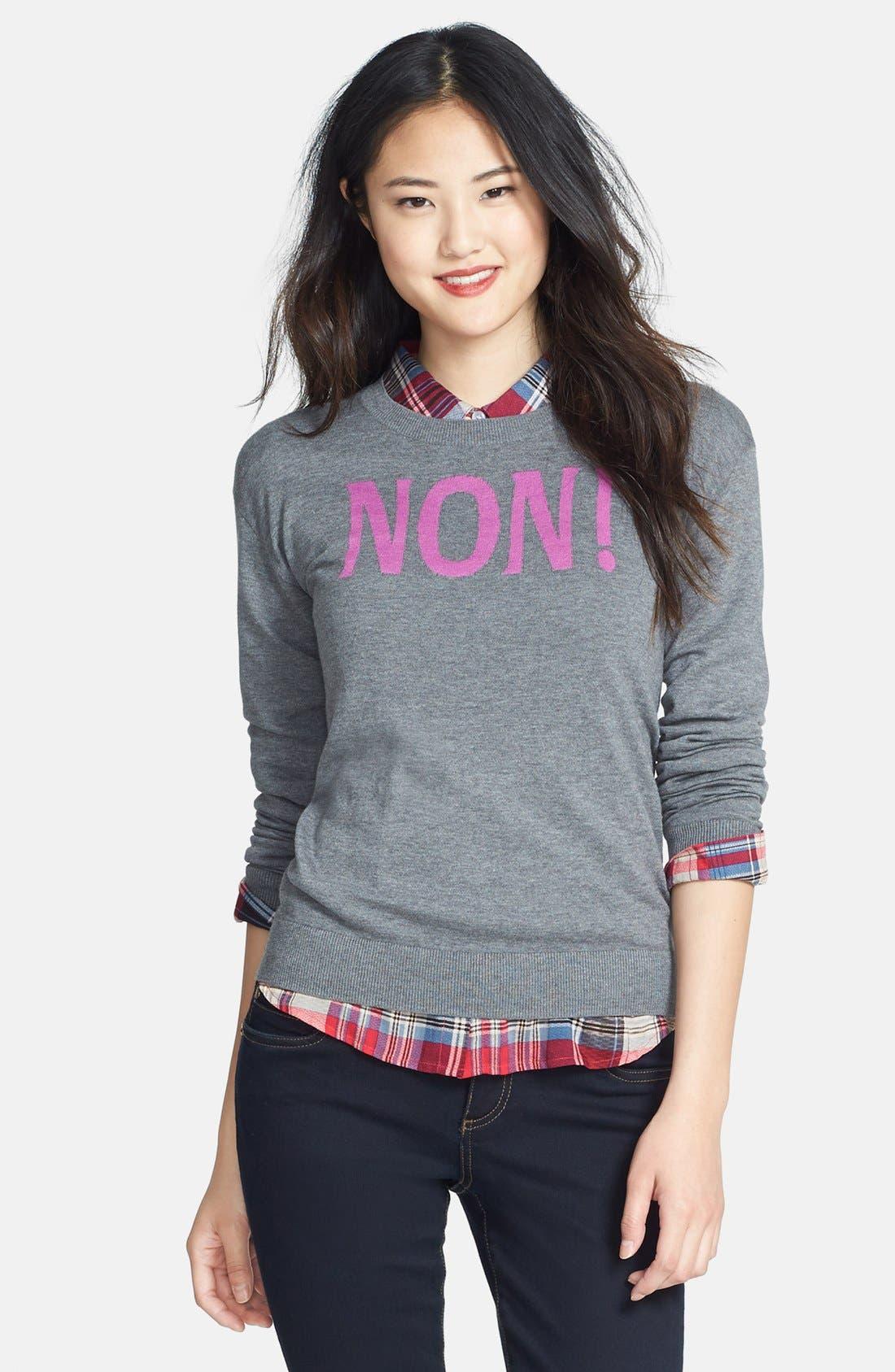 Main Image - Halogen® 'Non' Zip Back Crewneck Sweater (Regular & Petite)