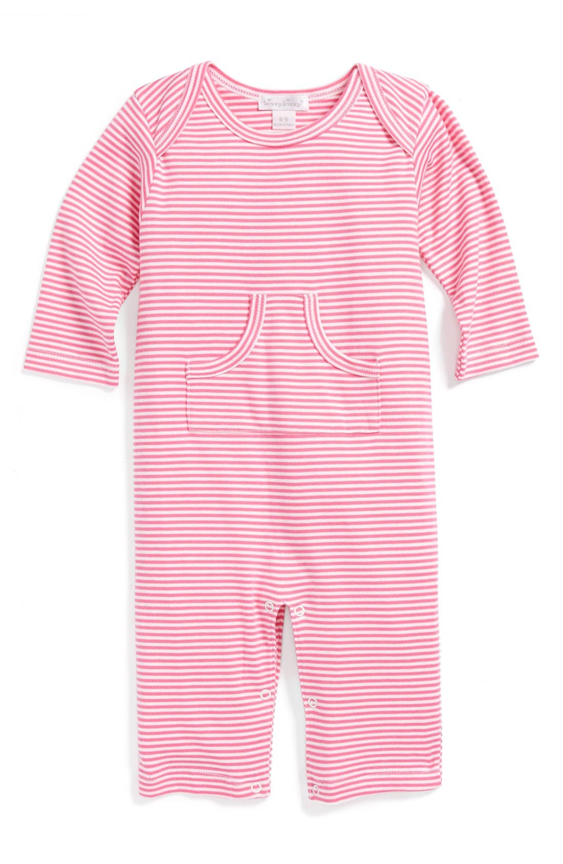 Alternate Image 1 Selected - Kissy Kissy Kangaroo Pocket Coveralls (Baby Girls)