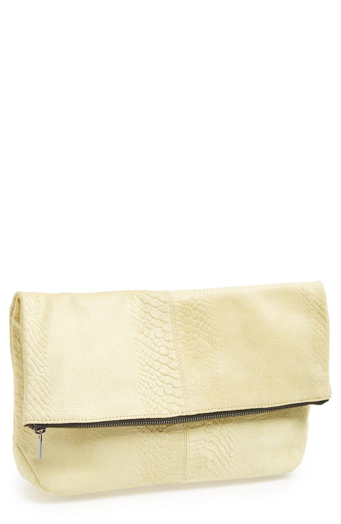 Main Image - Topshop Snake Embossed Suede Clutch