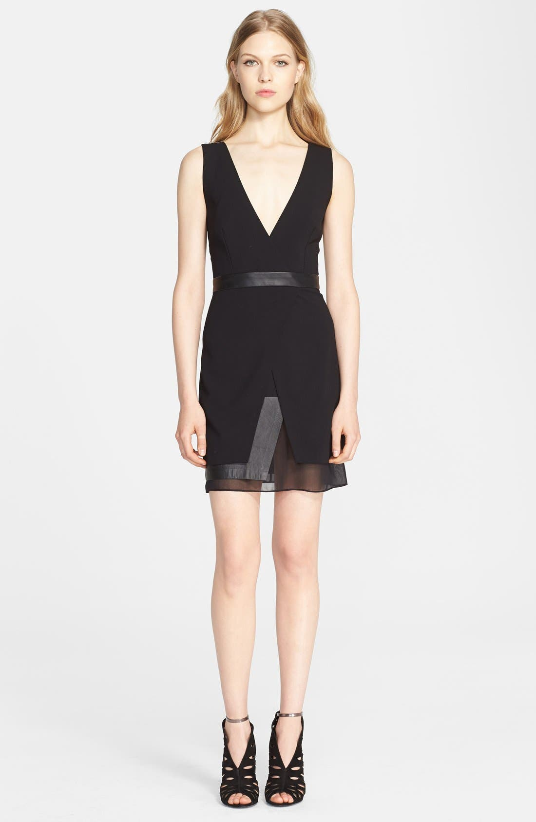 Alternate Image 1 Selected - Alice + Olivia 'Brice' Layered Leather Trim Dress