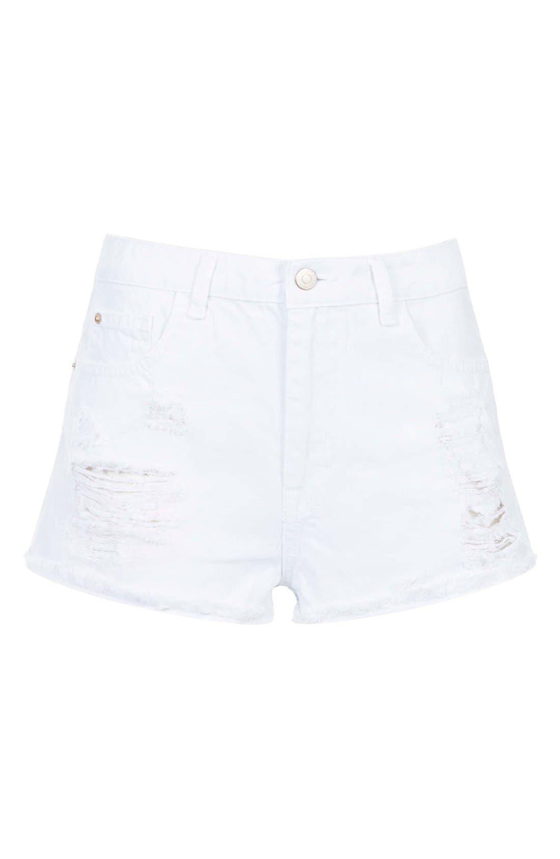 Alternate Image 3  - Topshop Moto 'Hallie' High Rise Denim Shorts (White)