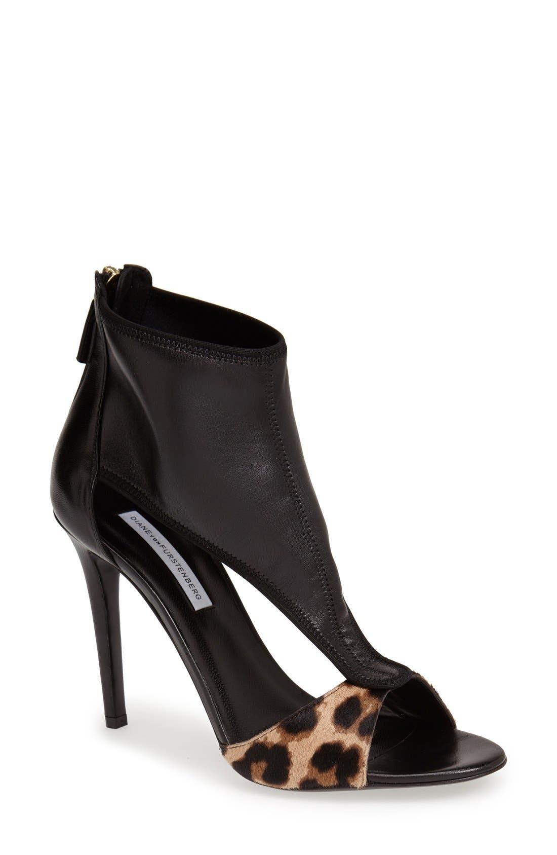 Alternate Image 1 Selected - Diane von Furstenberg 'Uffie' Leather & Calf Hair Sandal