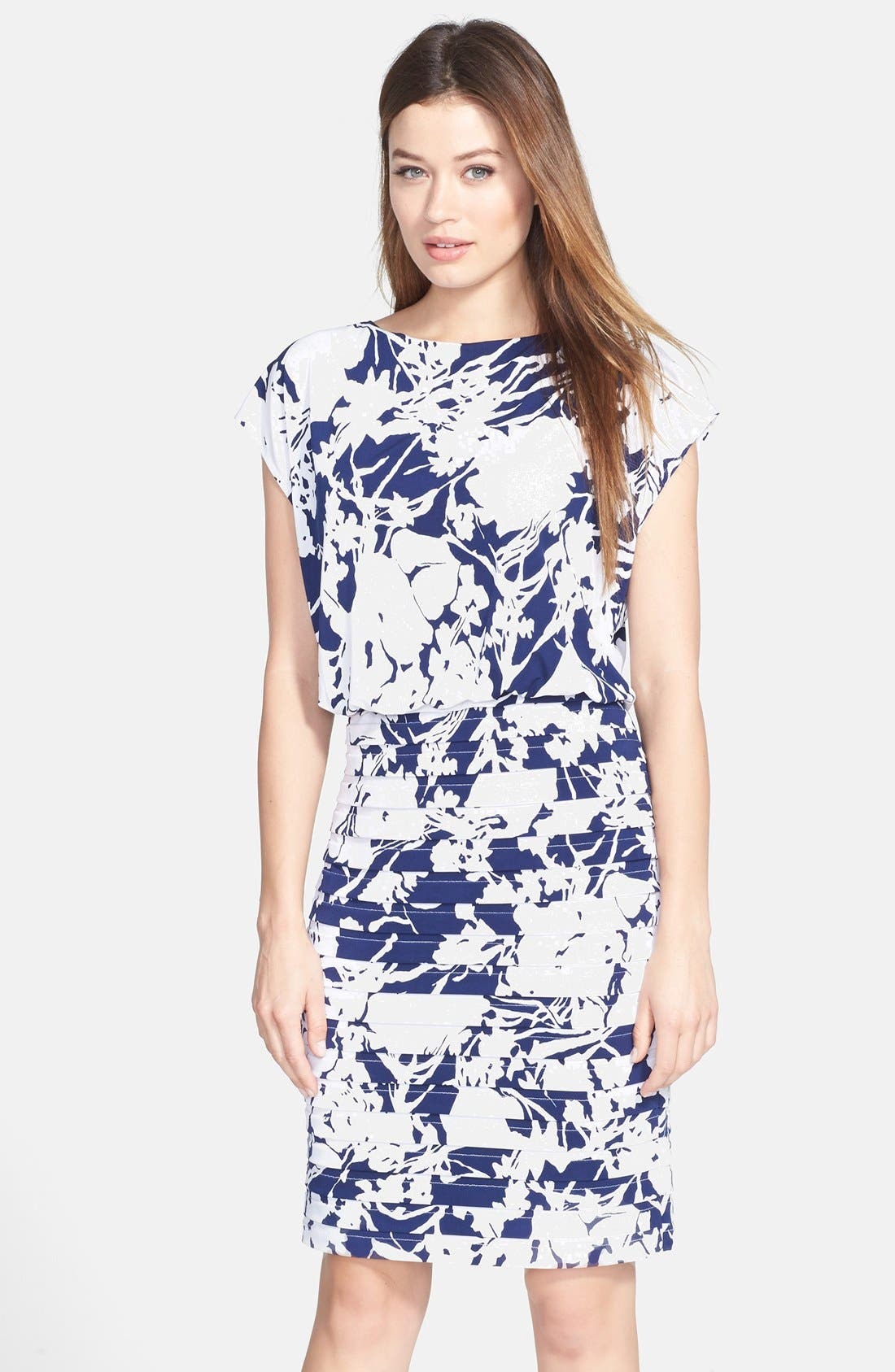 Alternate Image 1 Selected - Adrianna Papell Print Blouson Jersey Dress