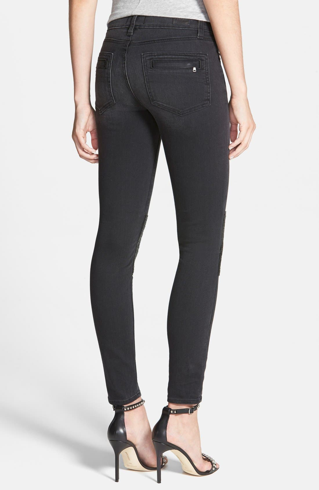 Alternate Image 2  - Paige Denim 'Harlem' Leather Detail Ultra Skinny Jeans (Moscow No Whiskers)