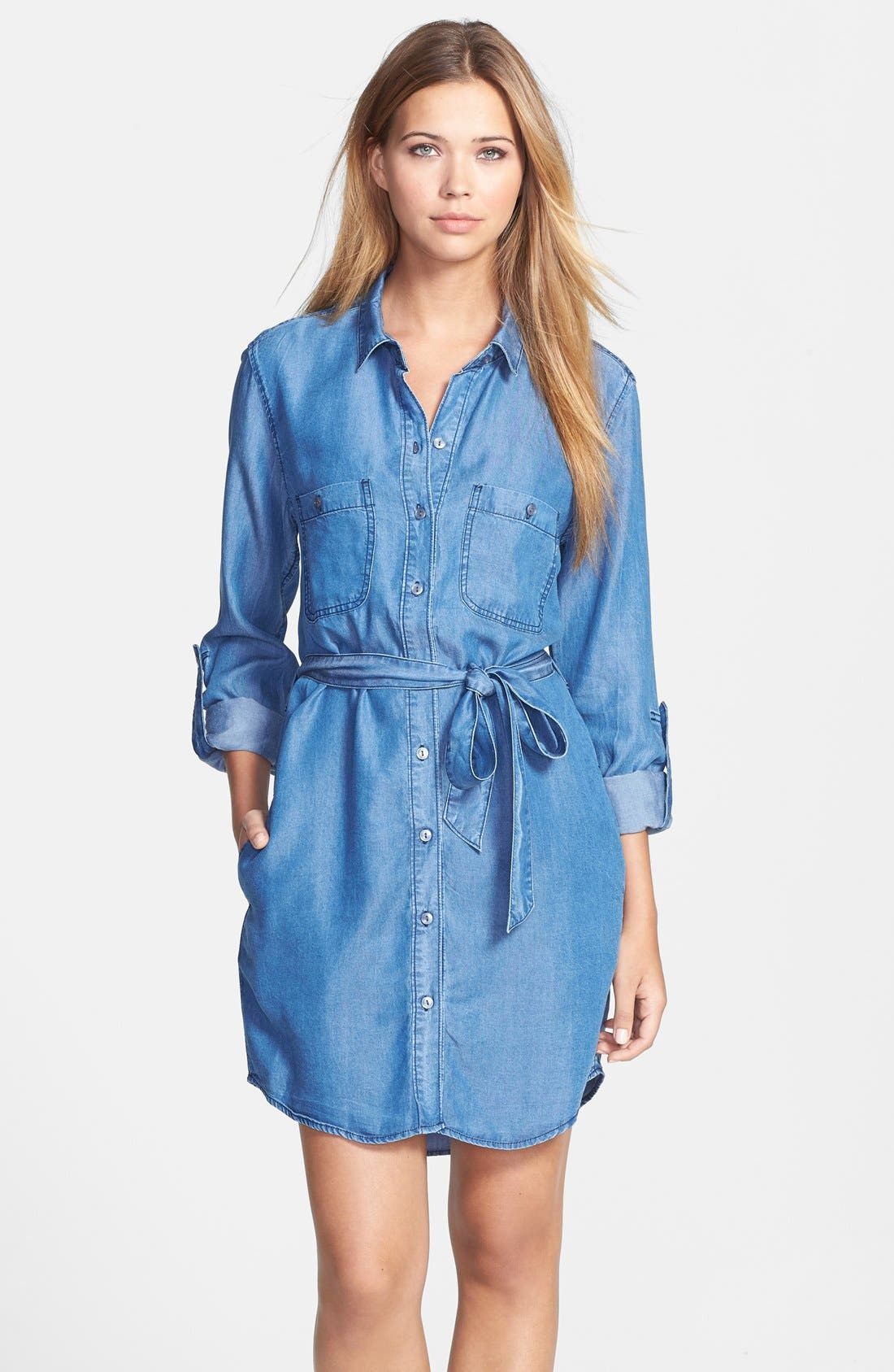 Alternate Image 1 Selected - Velvet Heart Roll Sleeve Chambray Shirtdress