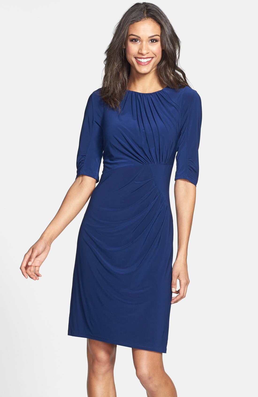 Alternate Image 1 Selected - Adrianna Papell Pleated Matte Jersey Sheath Dress (Online Only)