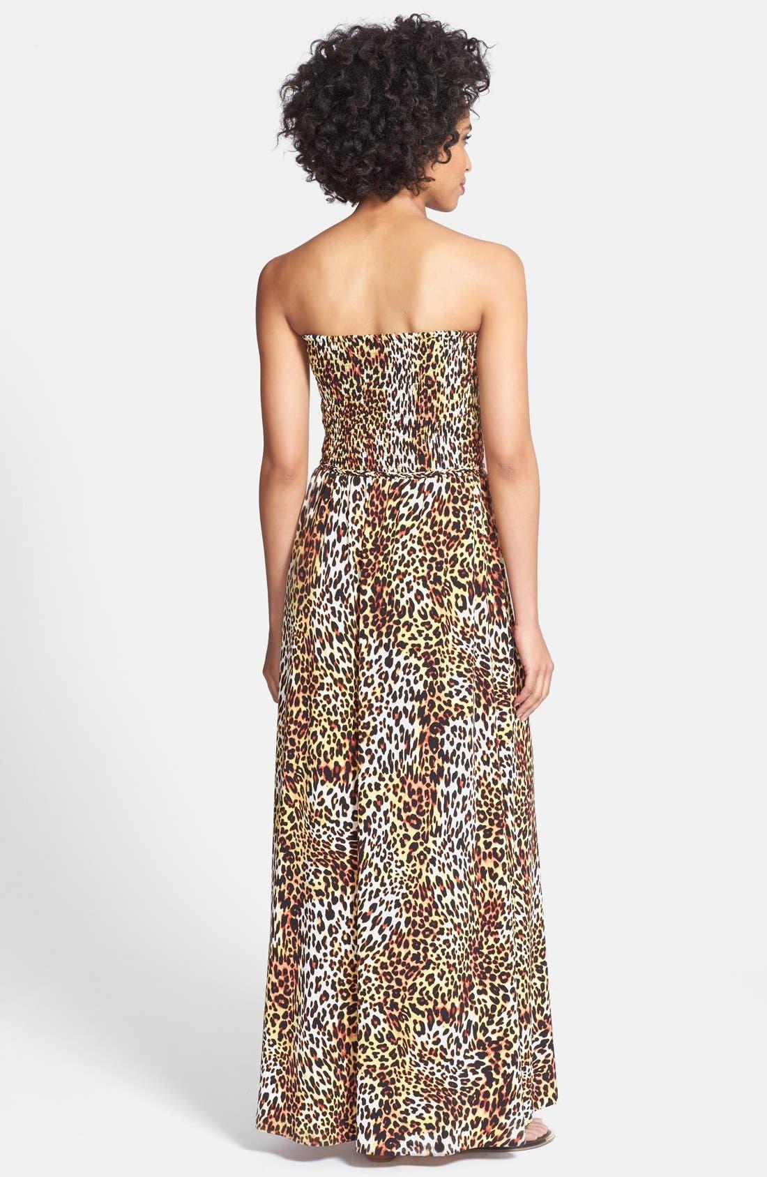 Alternate Image 2  - Anne Klein Leopard Print Strapless Maxi Dress (Regular & Petite)