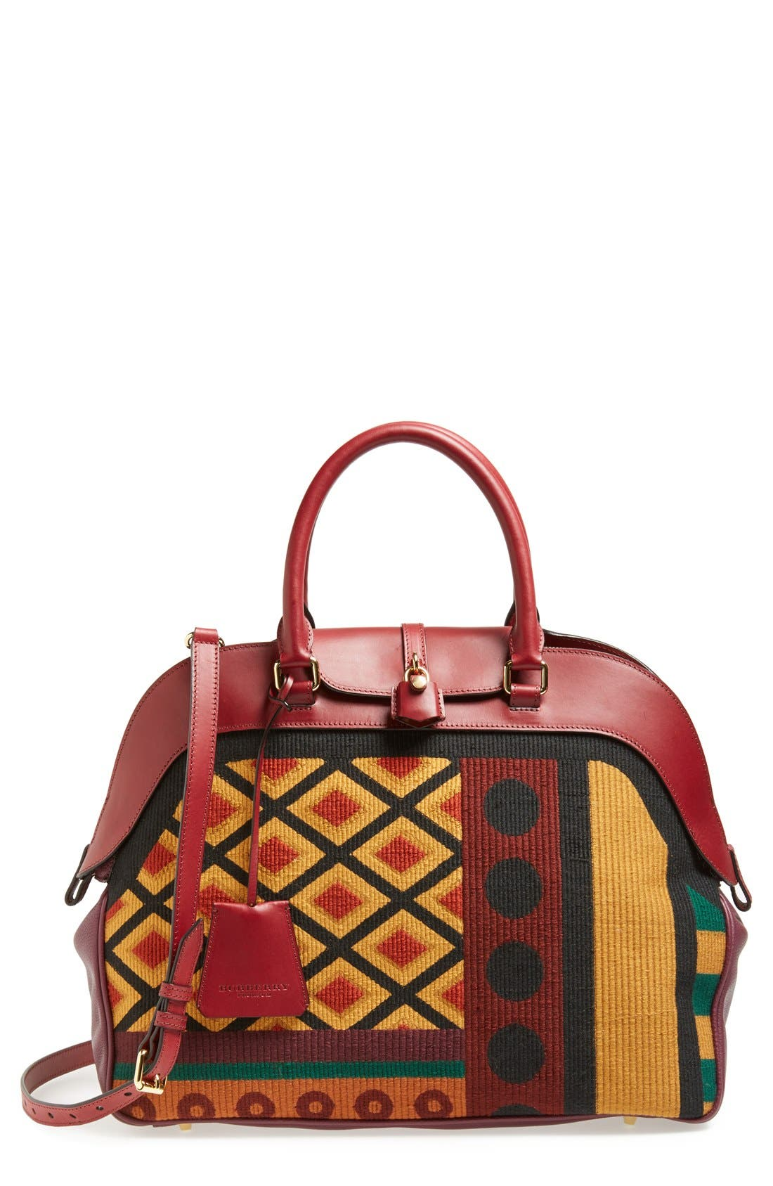 Main Image - Burberry 'Large Milverton' Geometric Tapestry Bowling Bag