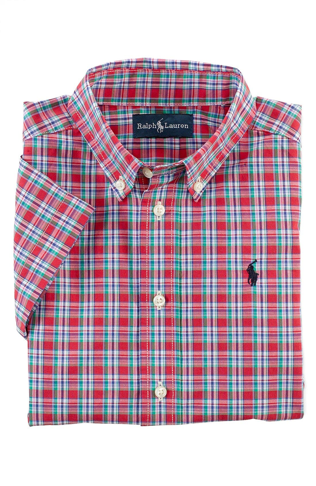 Alternate Image 1 Selected - Ralph Lauren Woven Plaid Shirt (Toddler Boys)