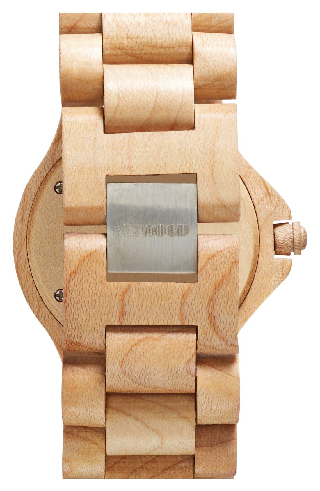 Alternate Image 2  - WeWOOD 'Cygnus' Multifunction Wood Bracelet Watch, 42mm