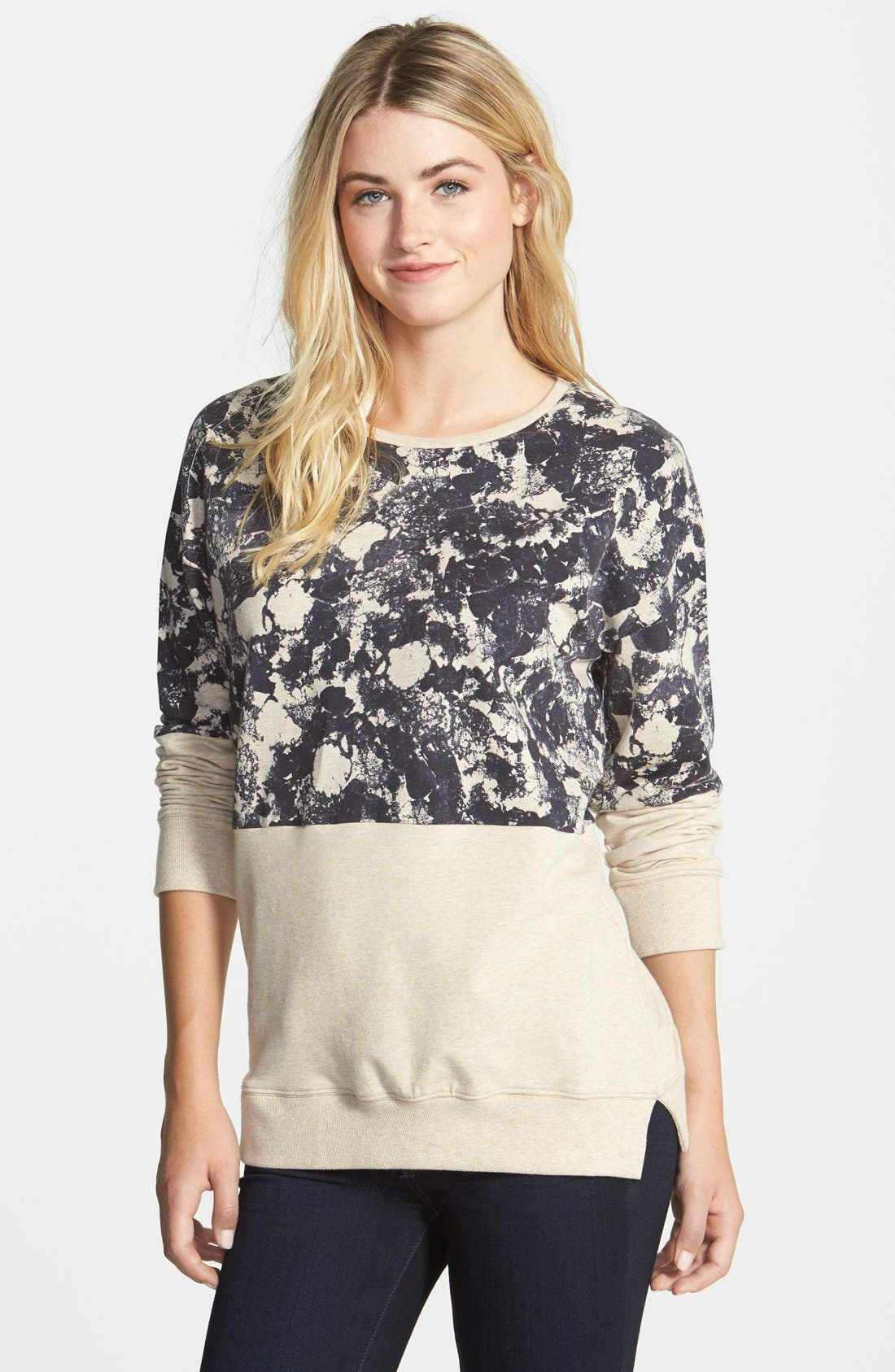 Alternate Image 1 Selected - Two by Vince Camuto Colorblock Print Sweatshirt