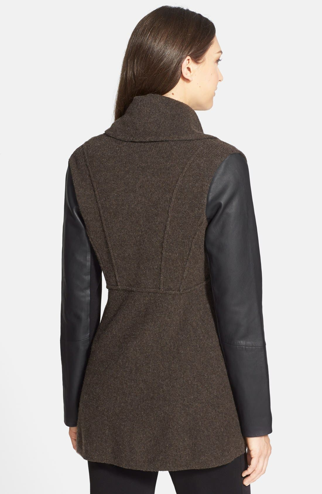 Alternate Image 2  - Eileen Fisher Leather Sleeve Merino Lambswool Jacket (Regular & Petite)