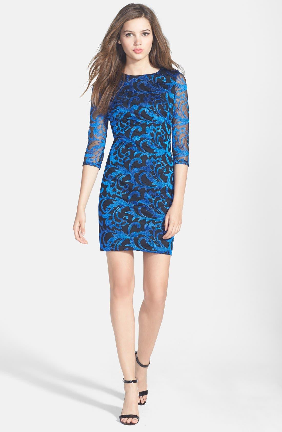 Alternate Image 3  - Alexia Admor Embroidered Mesh Body-Con Dress