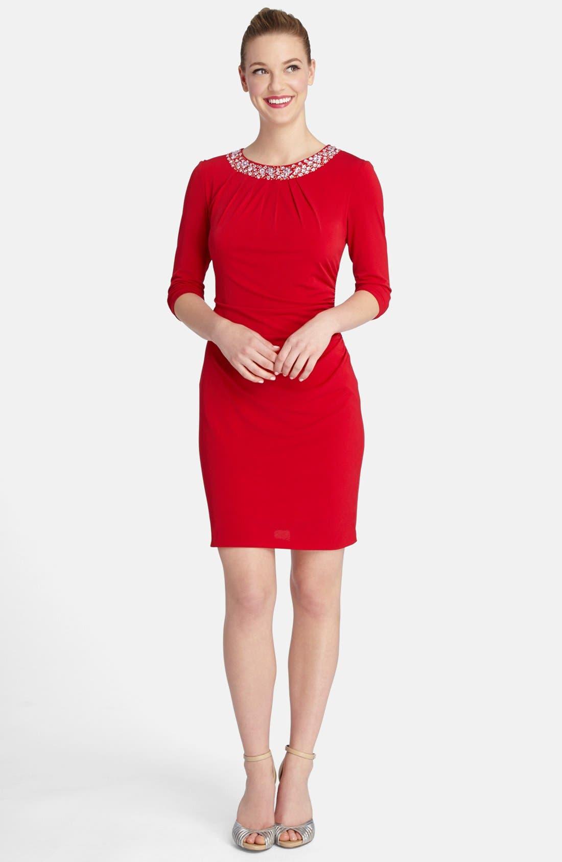 Alternate Image 1 Selected - Tahari Embellished Neck Ruched Jersey Sheath Dress