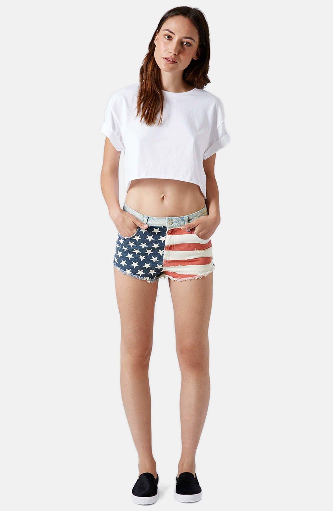 Alternate Image 5  - Topshop Flag Front Shorts