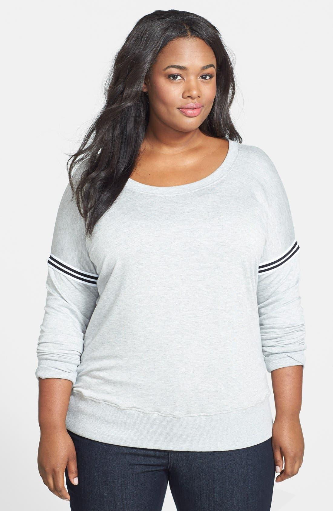 Main Image - Pink Lotus Stripe Trim Dolman Sleeve Sweatshirt (Plus Size)