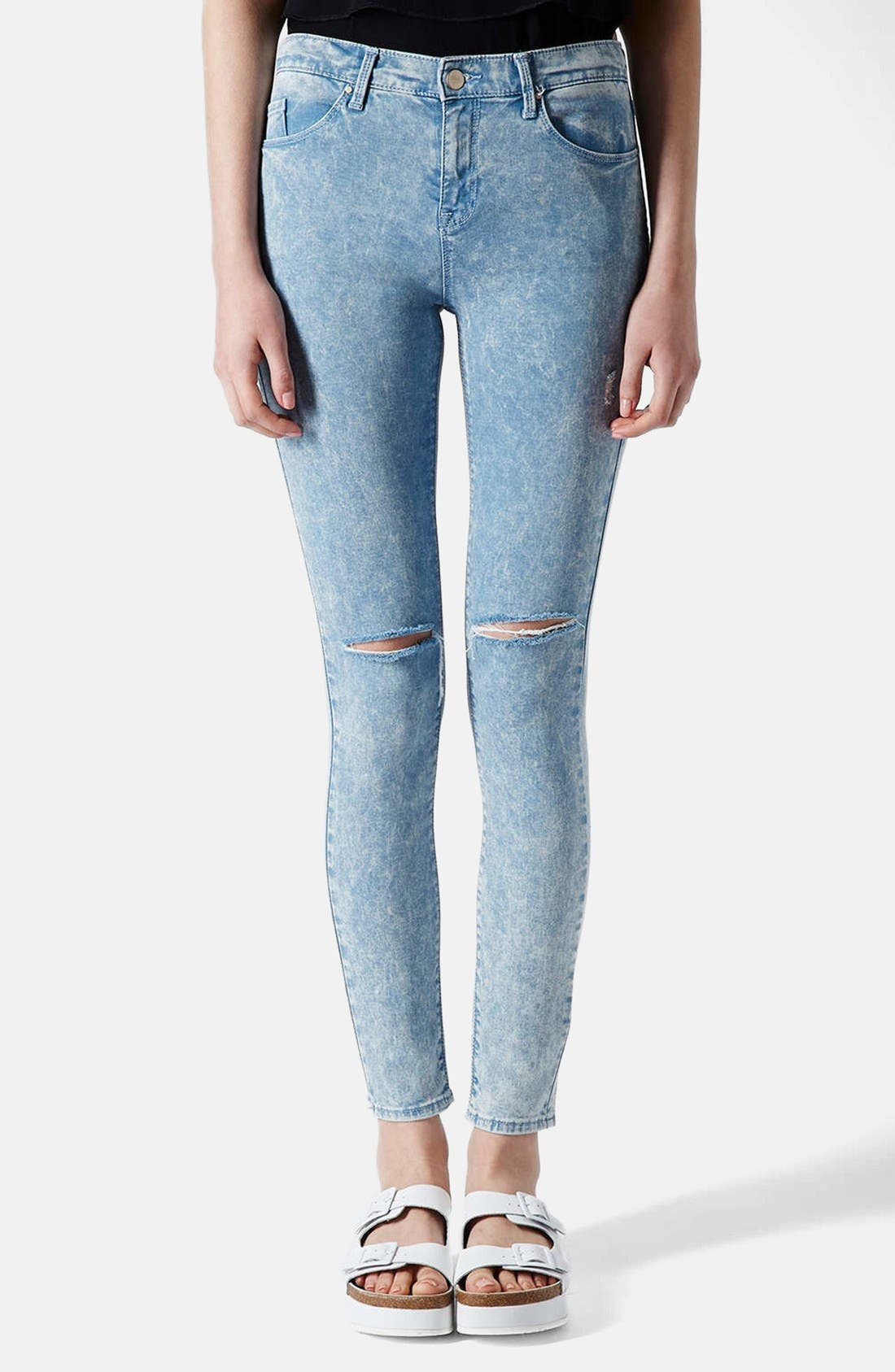 Main Image - Topshop Moto 'Leigh' Acid Wash Ripped Skinny Jeans (Light Blue) (Regular & Short)