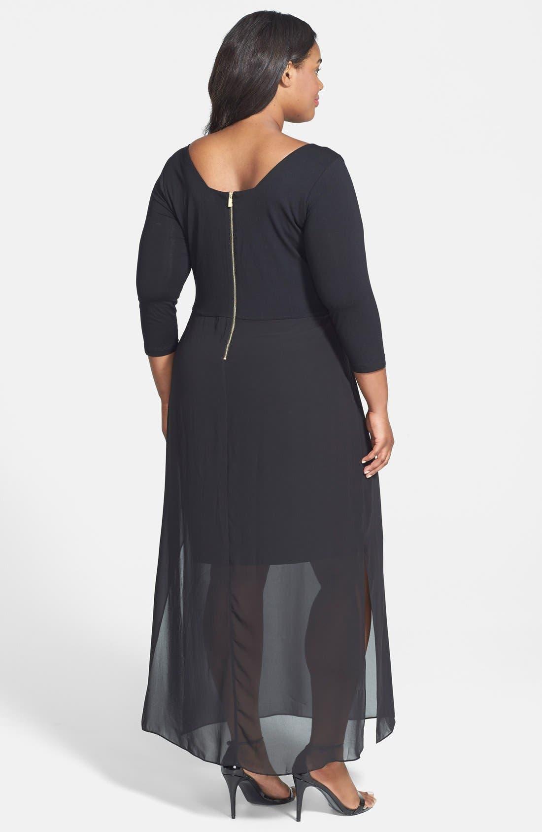 Alternate Image 2  - Vince Camuto Chiffon Overlay Maxi Dress (Plus Size)