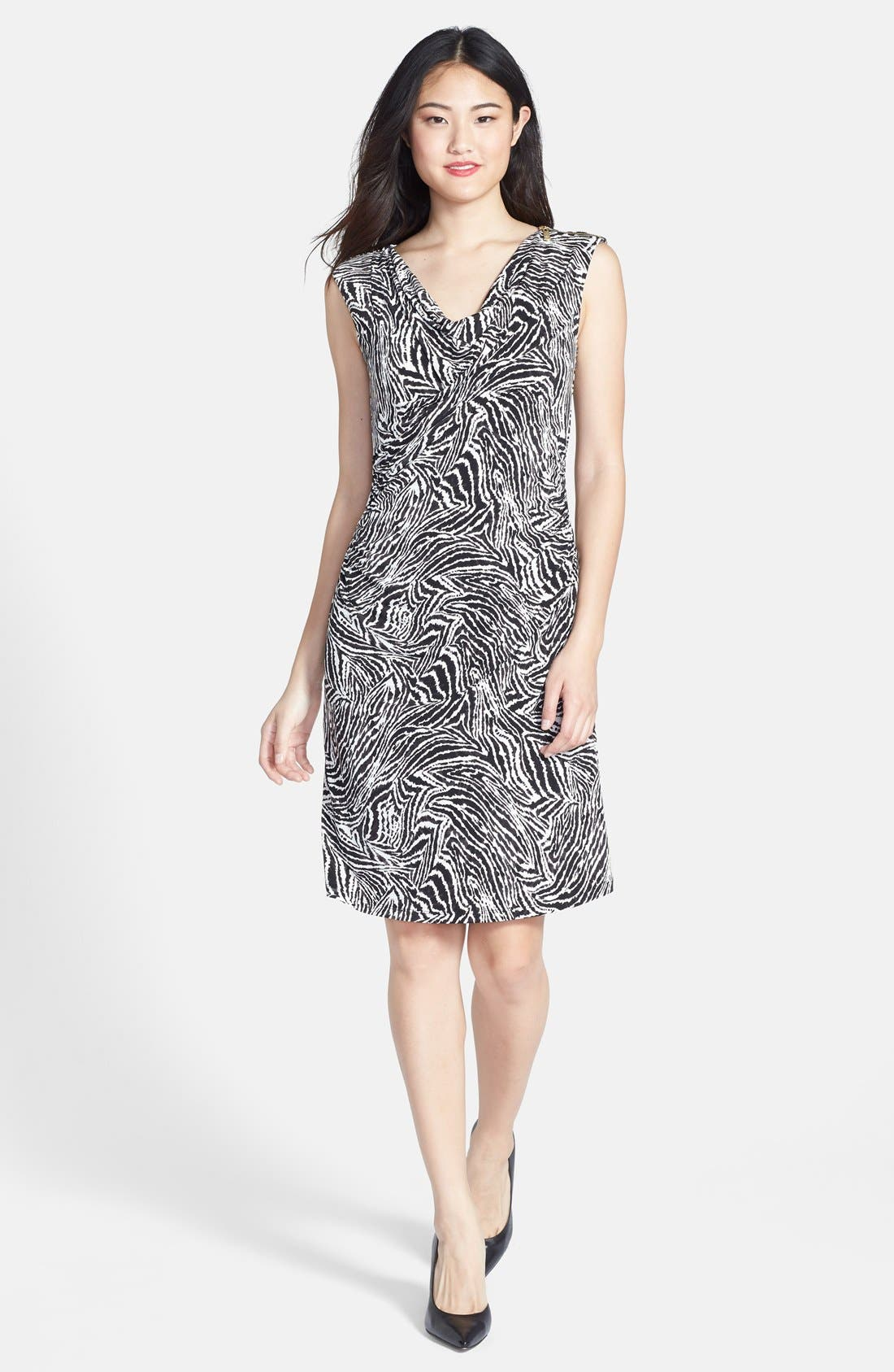Main Image - Chaus Goldtone Zip Shoulder Zebra Print Dress