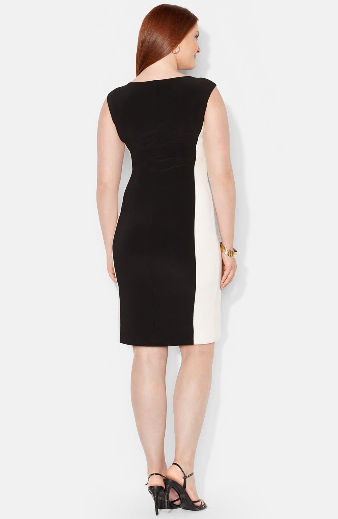 Alternate Image 2  - Lauren Ralph Lauren Colorblock Matte Jersey Dress (Plus Size)