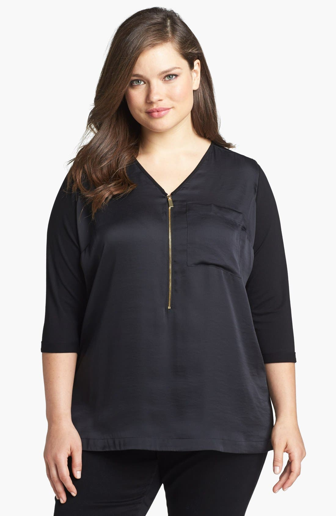 Main Image - Vince Camuto Zip Placket Mixed Media Tunic Top (Plus Size)
