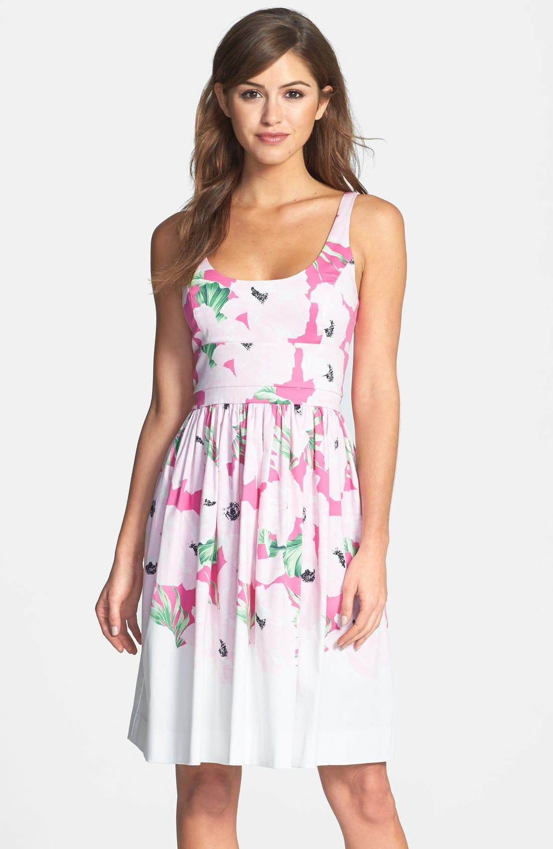 Main Image - French Connection 'Holiday' Print Stretch Cotton Fit & Flare Dress