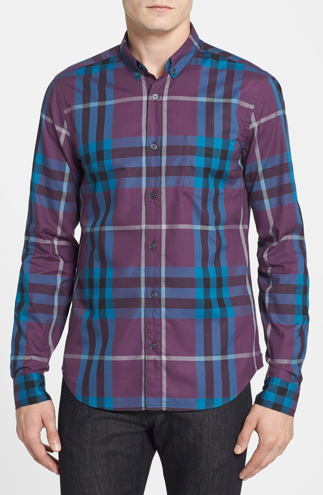 Alternate Image 1 Selected - Burberry Brit Trim Fit Check Sport Shirt