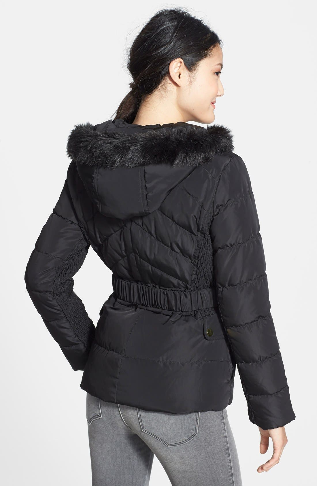 Alternate Image 2  - Via Spiga Faux Fur Trim Hooded Puffer Jacket (Online Only)