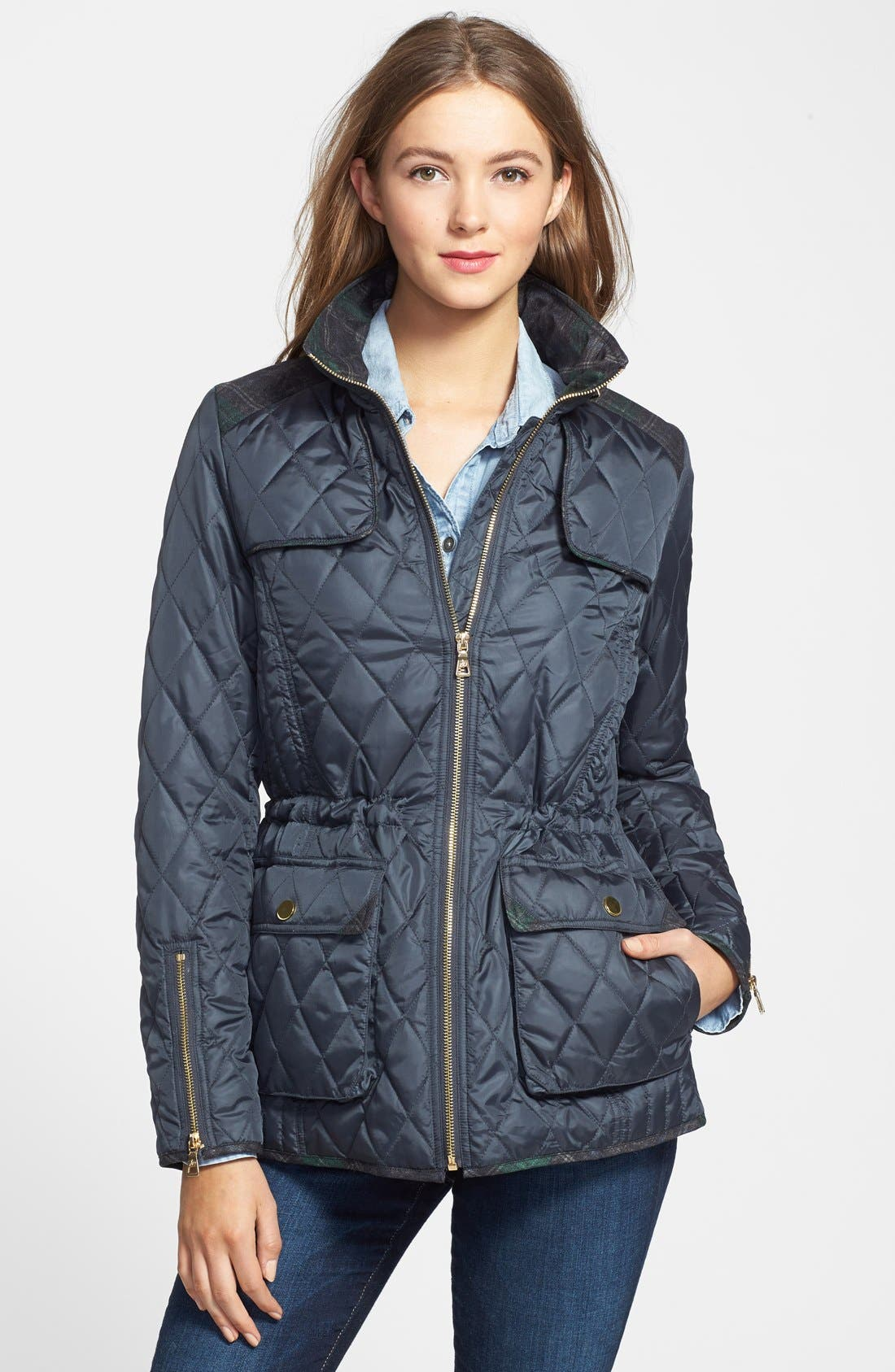 Alternate Image 1 Selected - Sam Edelman Plaid Trim Quilted Coat
