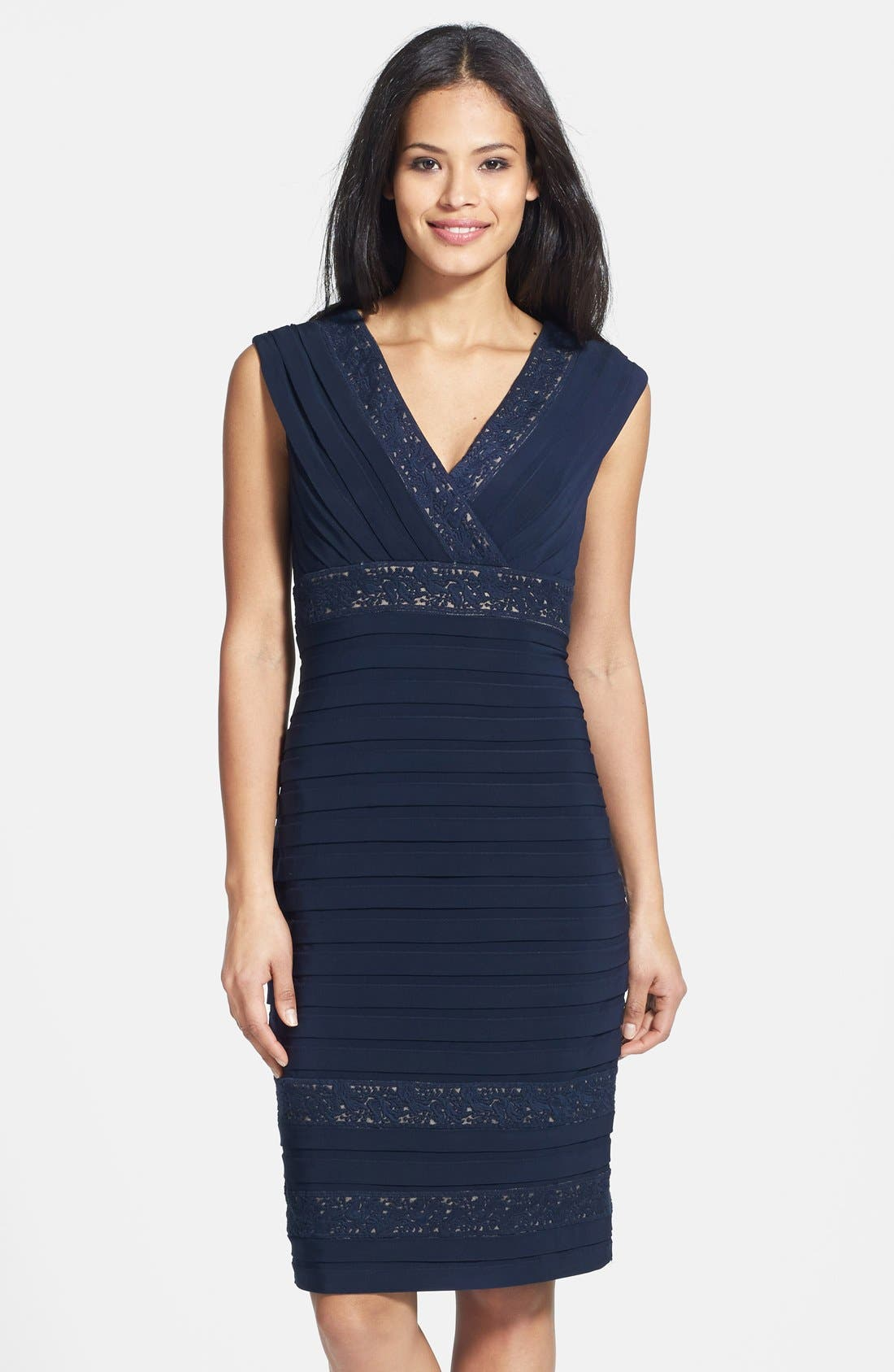 Main Image - Adrianna Papell Lace Inset Banded Sheath Dress