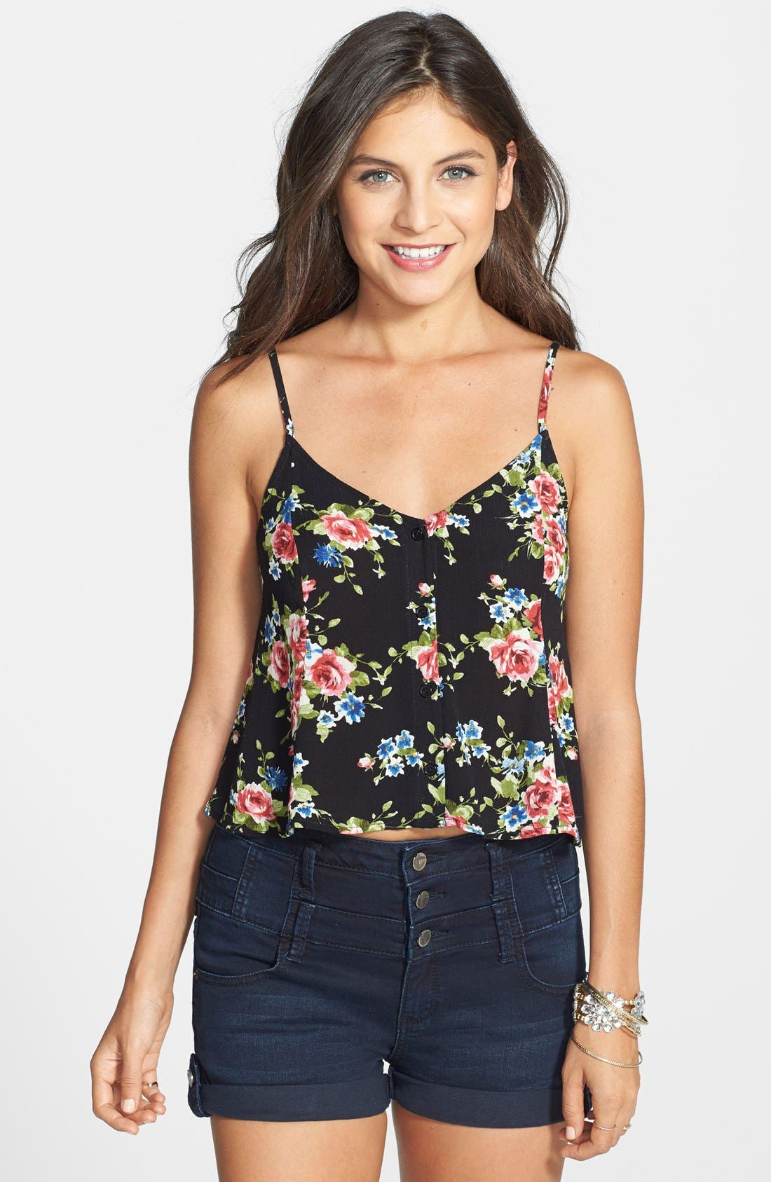 Alternate Image 1 Selected - Lush Button Front Tank (Juniors)