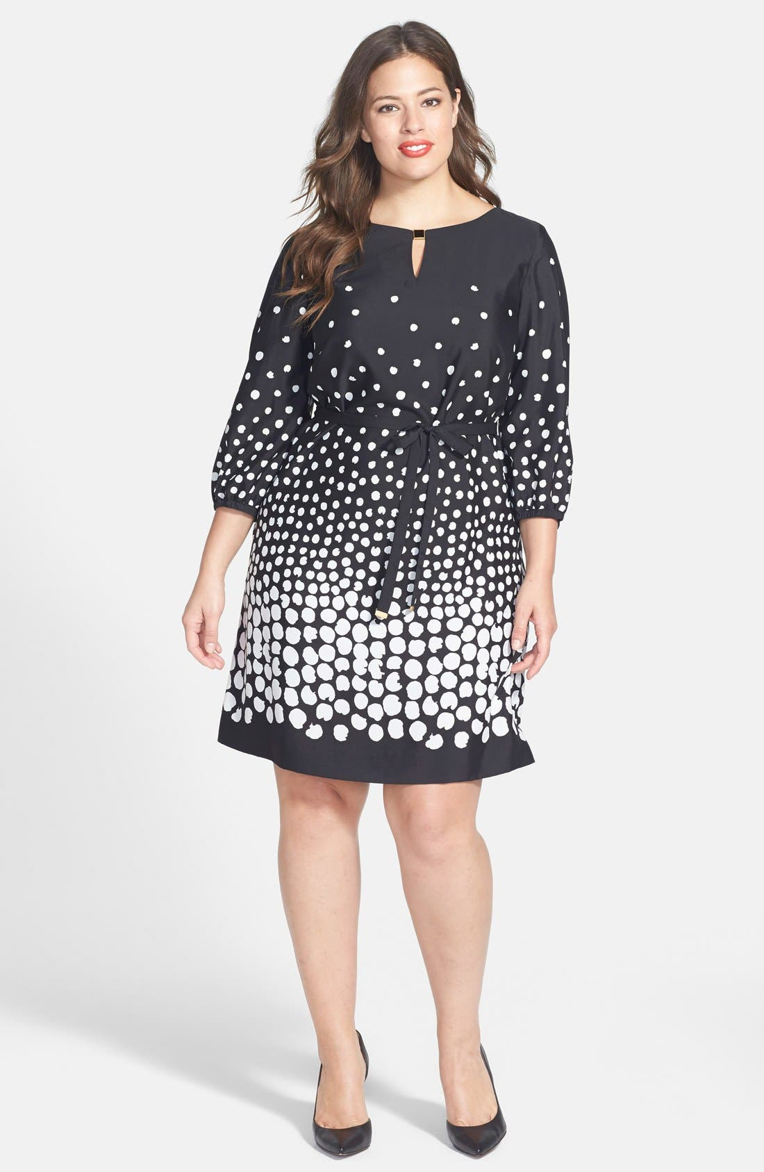Alternate Image 1 Selected - Tahari by ASL Belted Graduated Dot Dress (Plus Size)