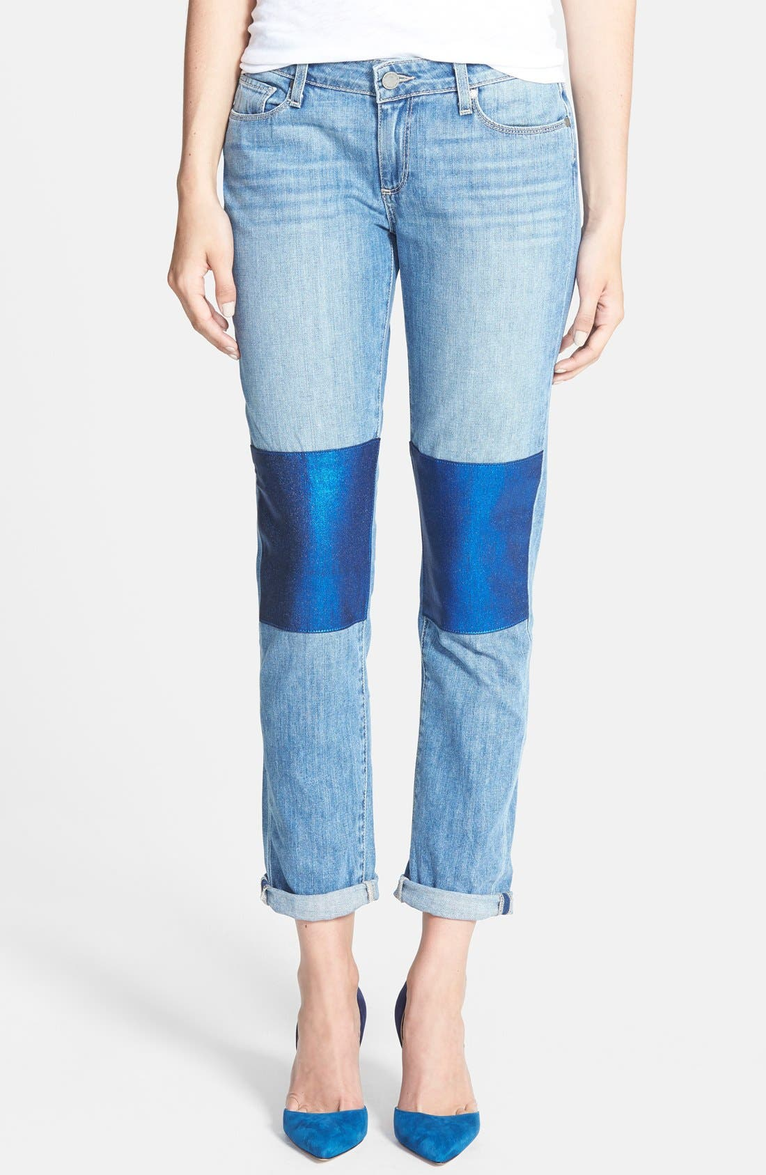 Main Image - Paige Denim 'Jimmy Jimmy' Knee Patch Skinny Boyfriend Jeans (Nico Blue)