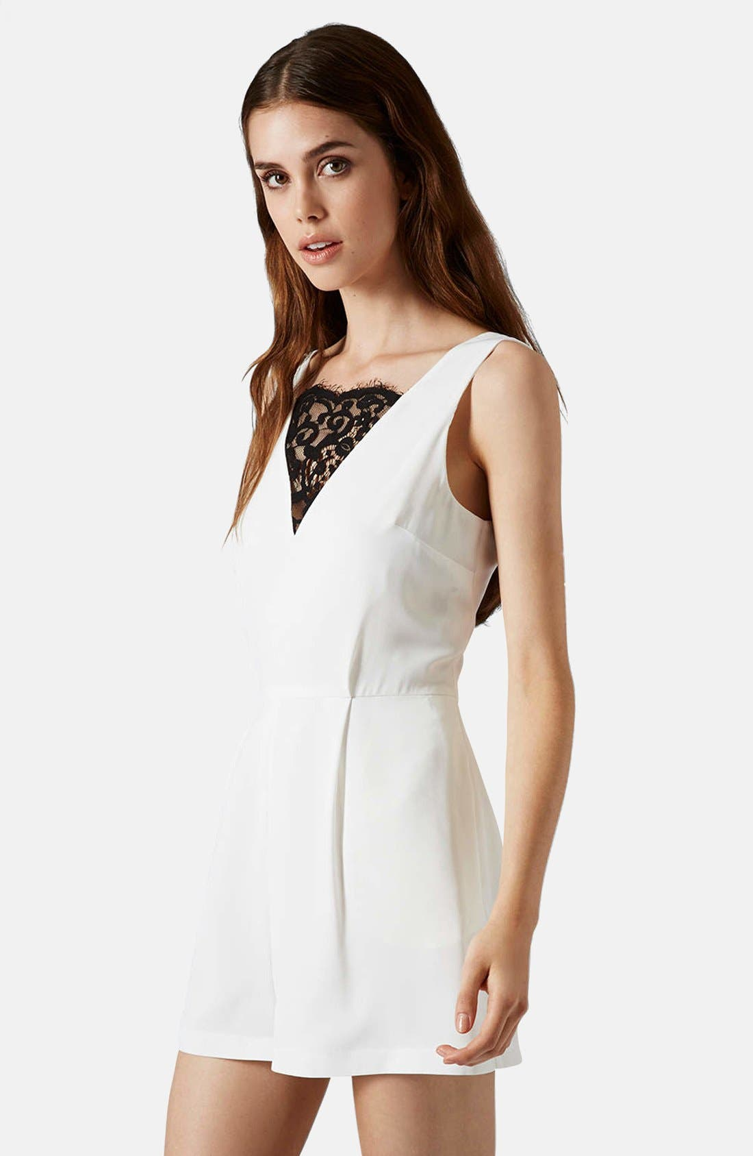 Alternate Image 1 Selected - Topshop Lace Front Playsuit